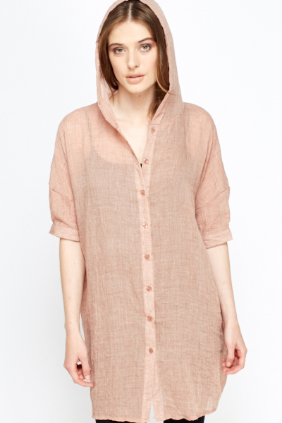 Hooded Cotton Long Shirt