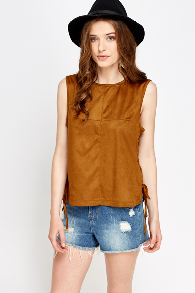Lace Up Side Suedette Top