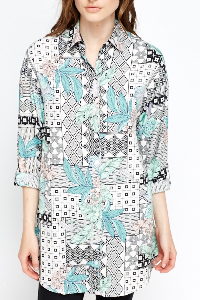 Long Cream Multi Print Shirt