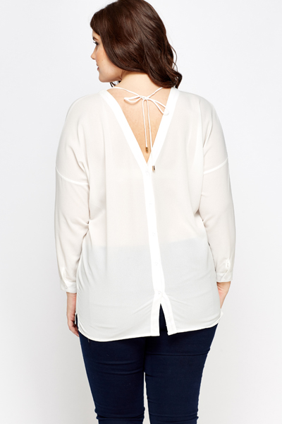 Sheer Tie Button Back Blouse
