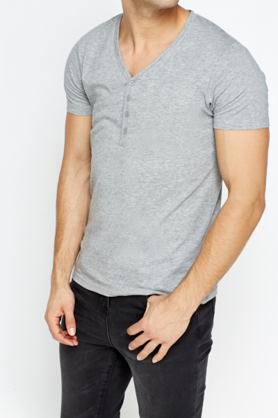 v neck button front t shirt just 5