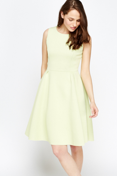 13ee4afb1e08 Light Green Scuba Skater Dress - Just £5