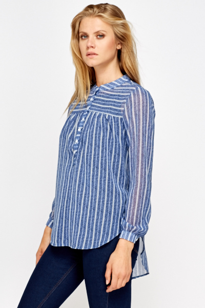 Sheer Blue Striped Blouse