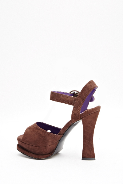 Brown Chunky Heeled Sandals - Just £5