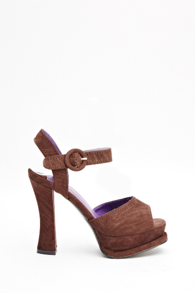 Brown Chunky Heeled Sandals