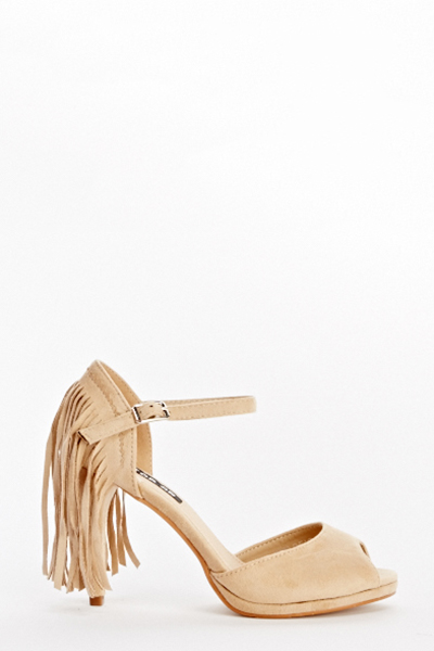 Fringed Back Heeled Sandals