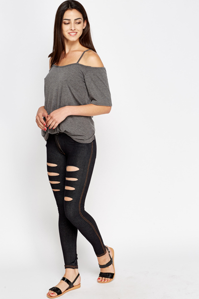 Ripped Black Jeggings