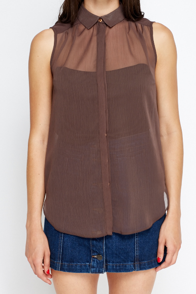 Brown Sheer Sleeveless Top