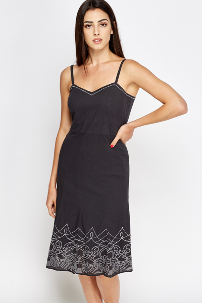 Charcoal Embroidered Border Dress