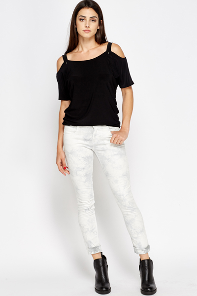 Dip Dye Cotton White Jeans