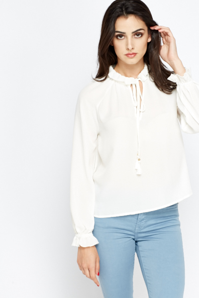High Neck Tie Up Ivory Blouse