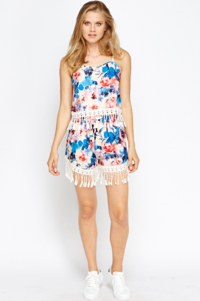 Co-Ord Crochet Trim Top And Shorts Set