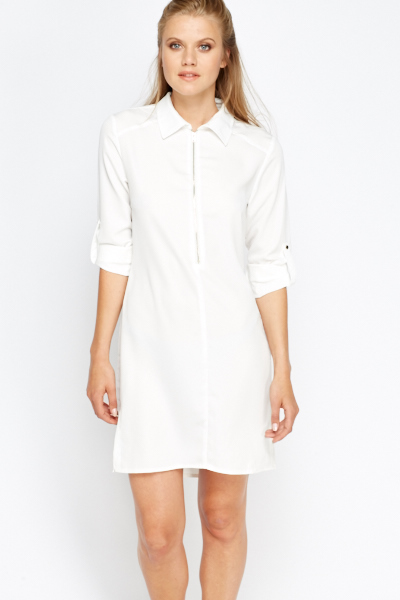 off white zip up shirt dress just 5 ForZip Up Dress Shirt