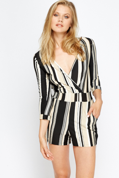 bbefeb7061a3 Wrap Front Striped Playsuit - Just £5
