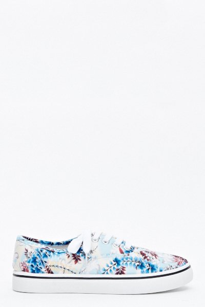 Light Blue Floral Canvas Trainers