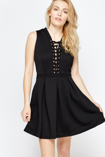 b6106e2c12 Lace Up Front Skater Dress - Just £5