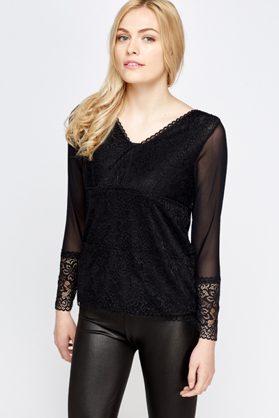 Mesh Insert Lace Top