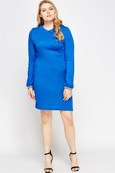Royal Blue Encrusted Cuff Dress