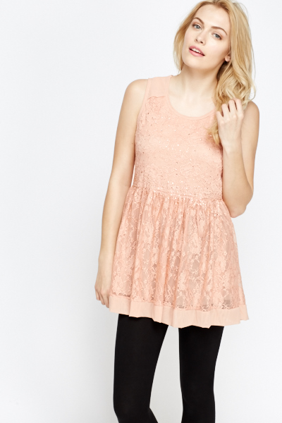 Encrusted Lace Skater Top