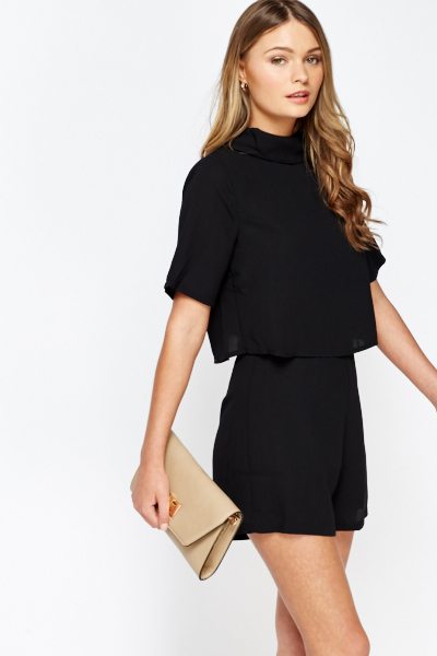 High Neck Overlay Playsuit - Just £5