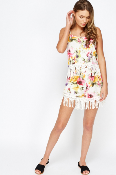 161a23172 Lace Tassel Hem Top And Shorts Co-ord Set - Just £5
