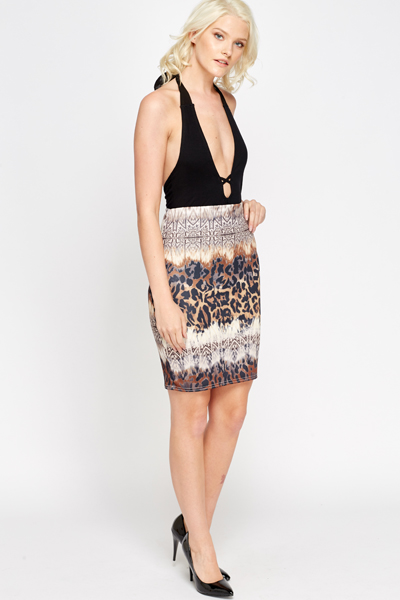 Mix Print Pencil Skirt