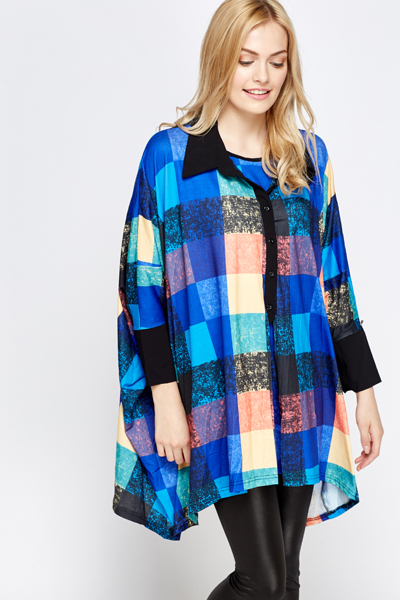 Multi Checked Box Blouse