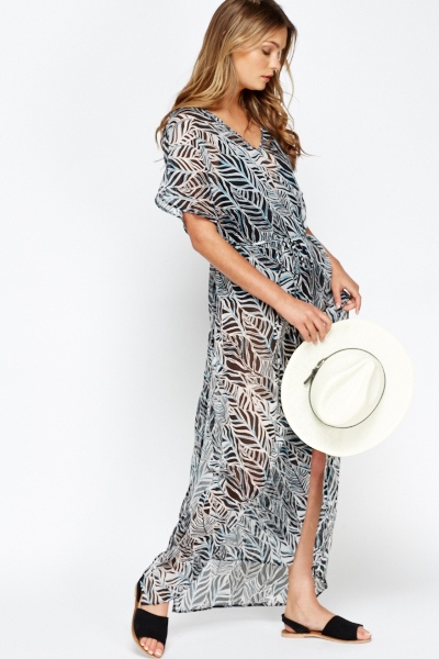 Sheered Printed Beach Cover Up