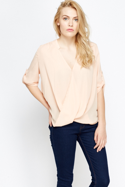 8b44a0330f4268 Wrap Front Dip Hem Blouse - Just £5