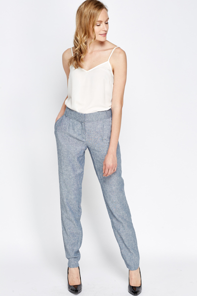 Linen Blend Speckled Trousers