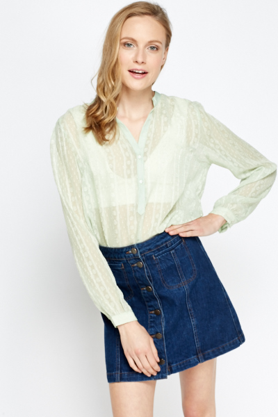 Mesh Button Neck Blouse