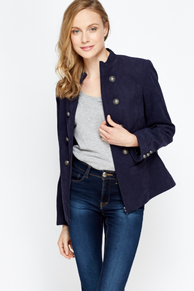 Suedette Military Style Jacket