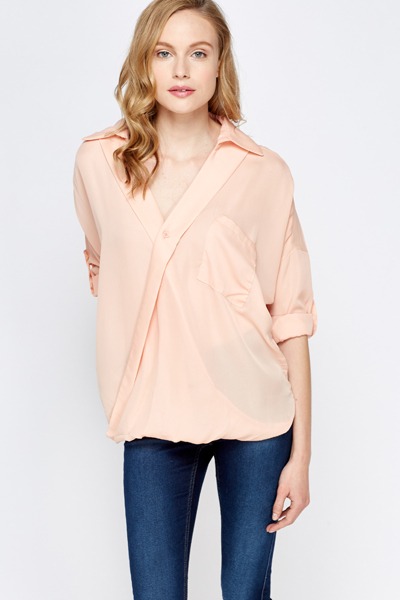 Wrap Front Silky Blouse