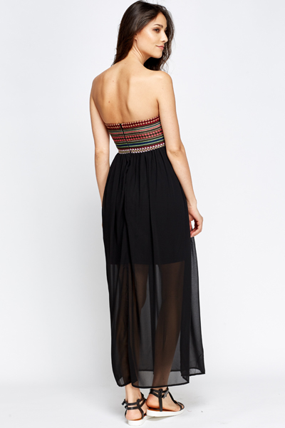 Contrast Tribal Bandeau Maxi Dress