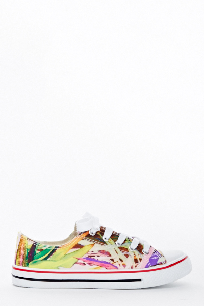 Mix Print Canvas Trainers