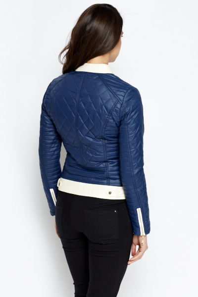 Faux Leather Quilted Biker Jacket Just 5