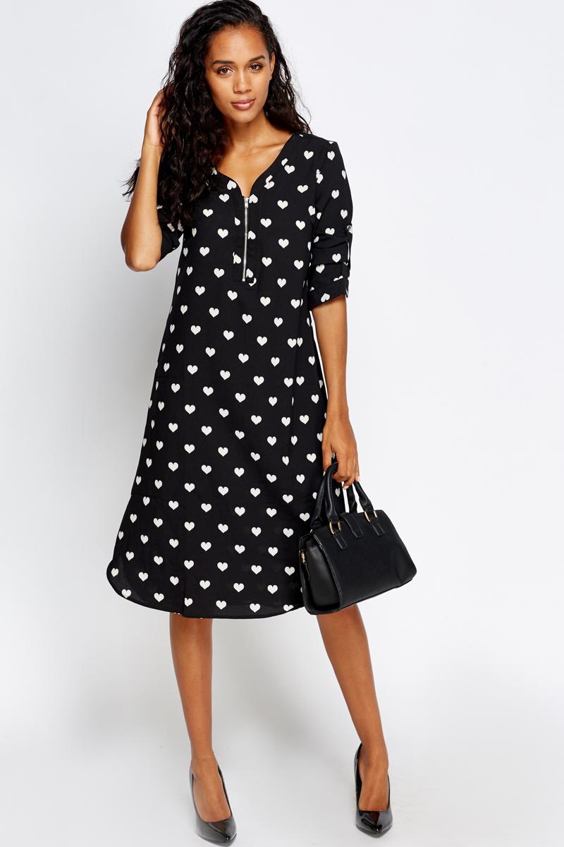 Black and white love heart dress