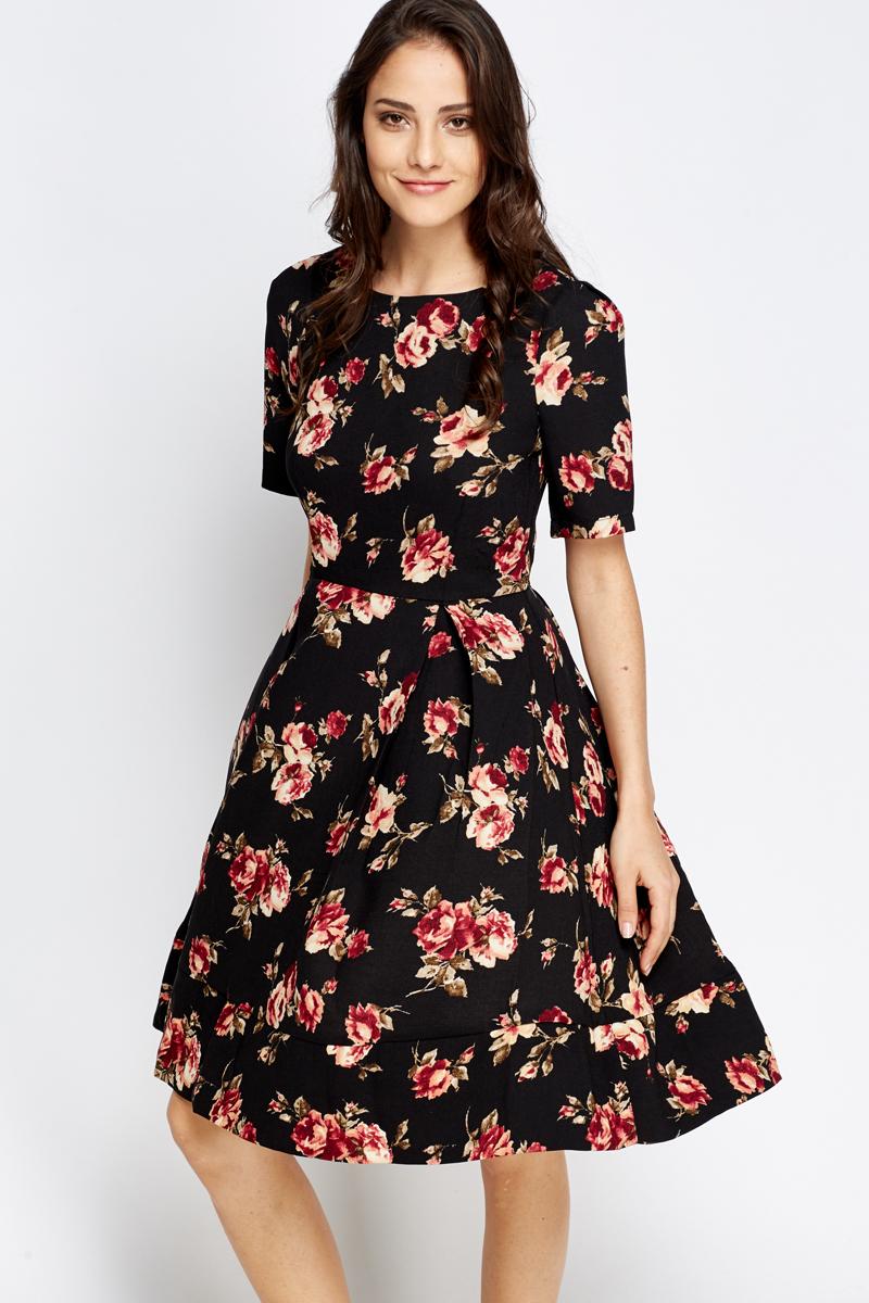 ef621cb828 Black Floral Pleated Skater Dress - Just £5