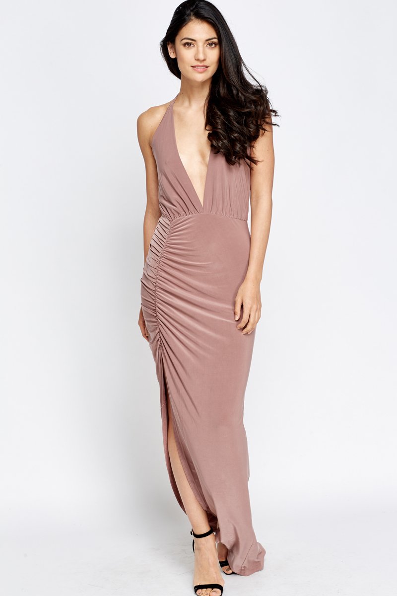 437048959e4 Plunge Halterneck Maxi Dress - Just £5