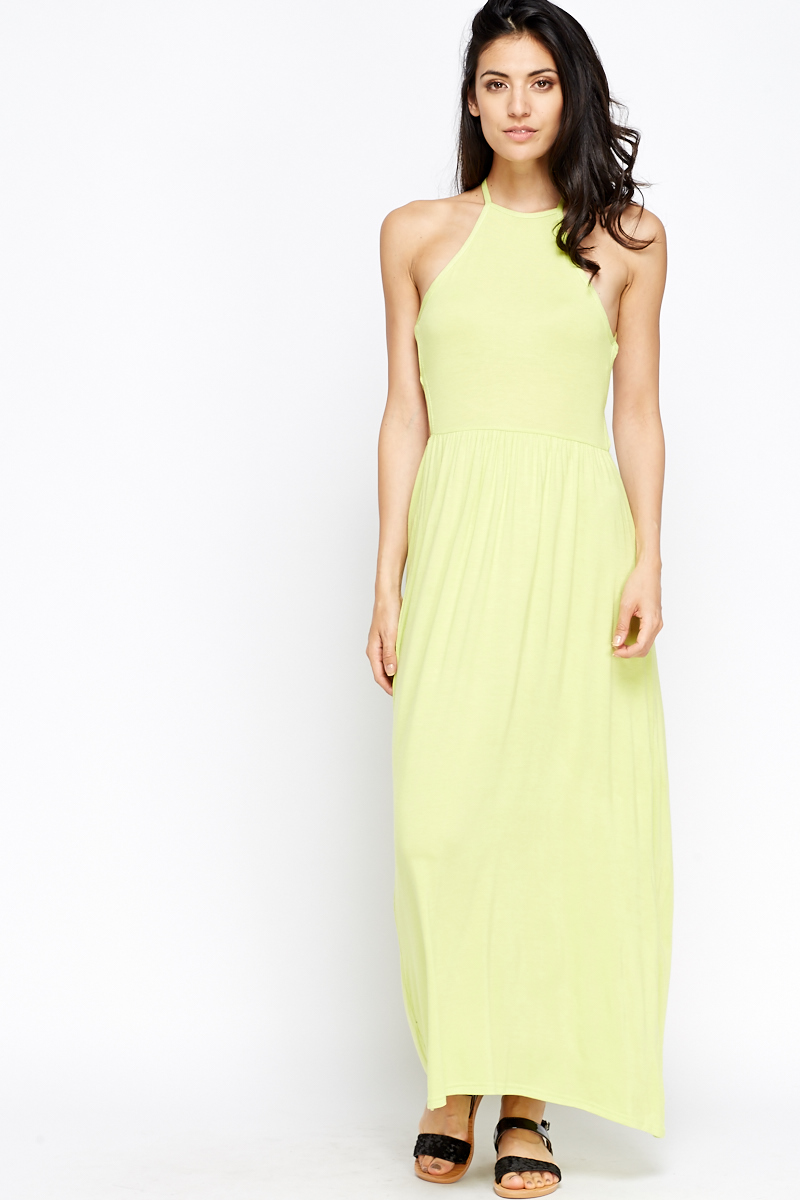 a48106d36 Open Back Maxi Dress - Lime - Just £5