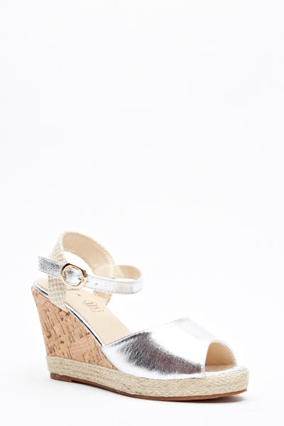 2534a867f1c8 Argent Contrast Cork Wedge Sandals - Just £5