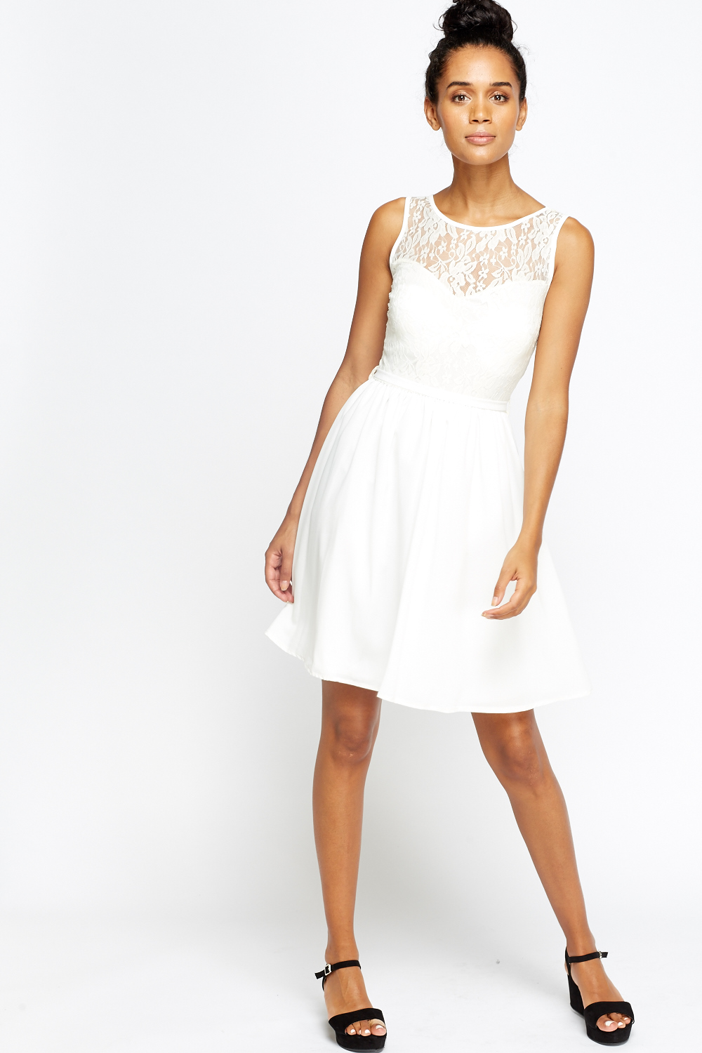 b7bbd526656b Cream Lace Sweetheart Skater Dress - Just £5