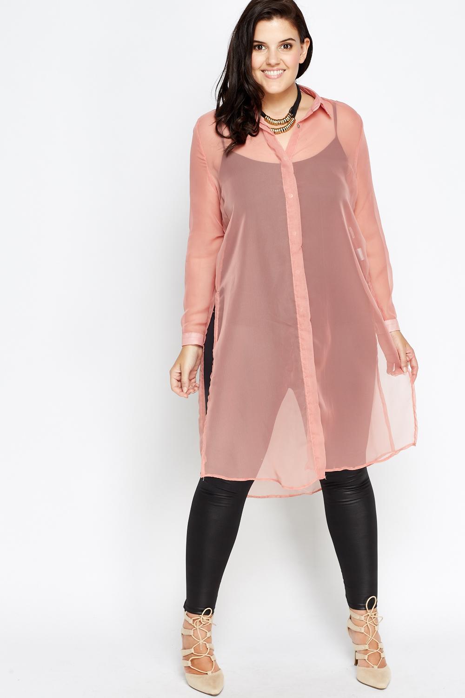 a3658be41dd6e Sheer Long Line Shirt Split Top - Just £5