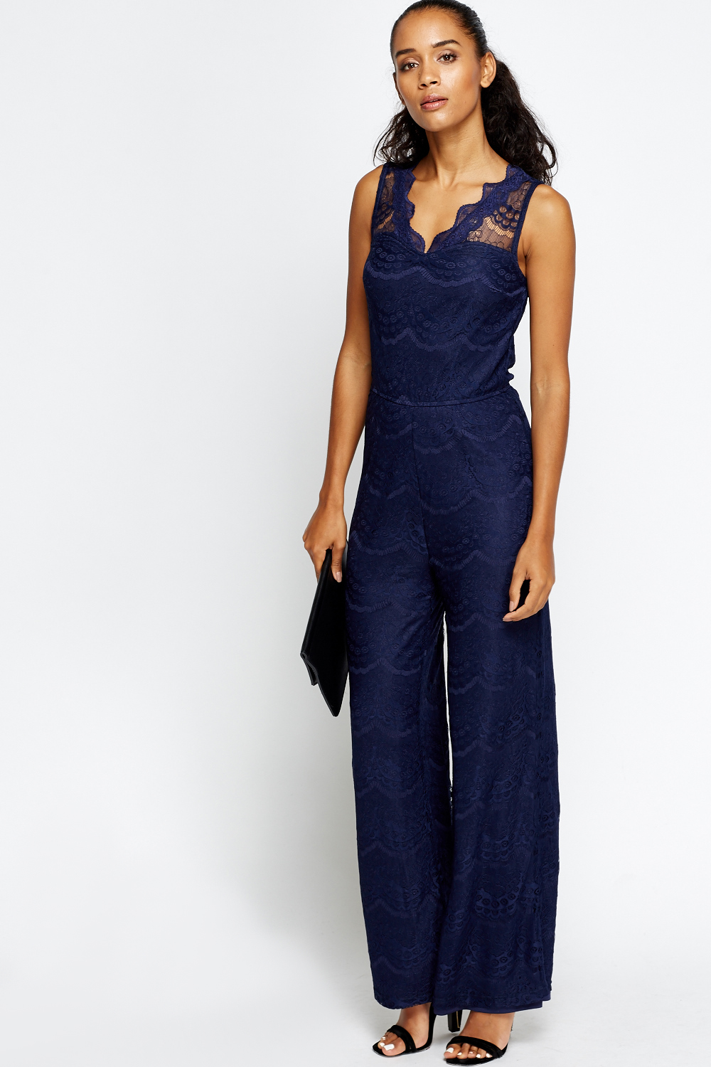 Sweetheart Lace Overlay Navy Jumpsuit - Just £5