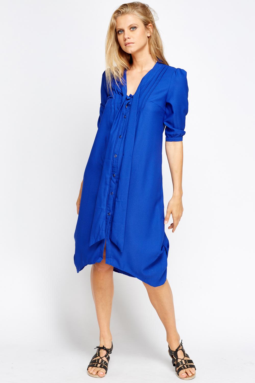 d3be06795e9e Pleated Shoulder Dip Hem Shirt Dress - Just £5