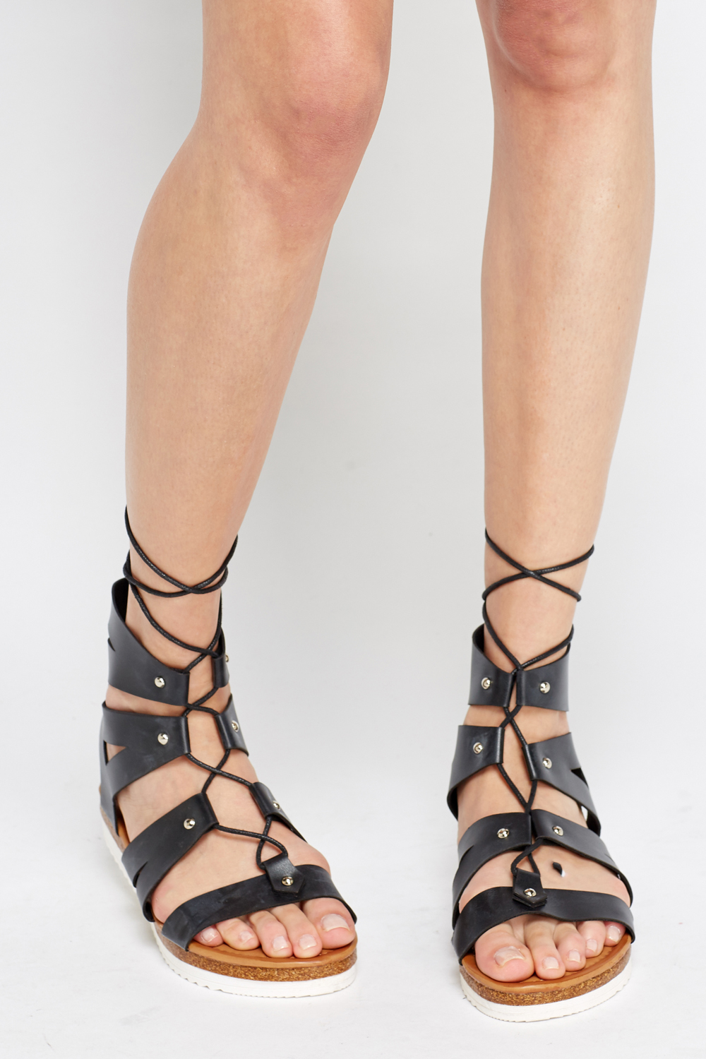 Strappy Tie Back Sandals Black Or White Just 163 5