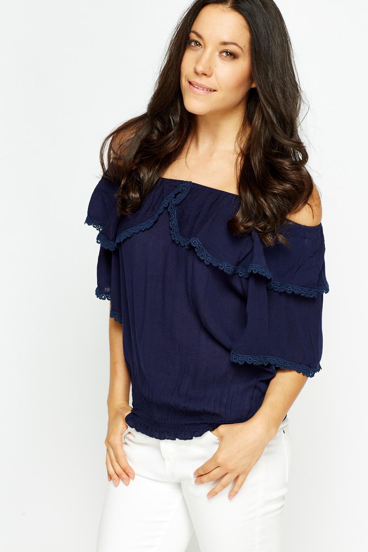 775fec8f418b Lace Trim Off Shoulders Top - Just £5