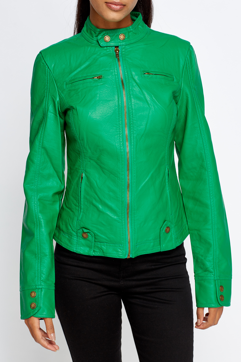 Green faux leather jacket just £