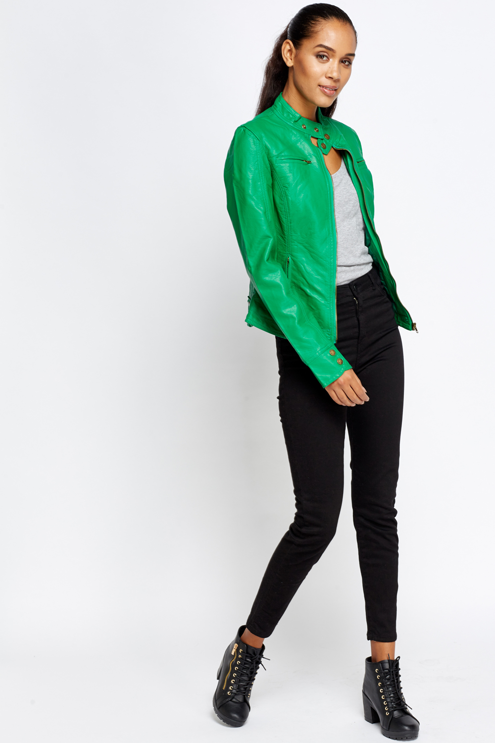 Green Faux Leather Jacket Just 163 5