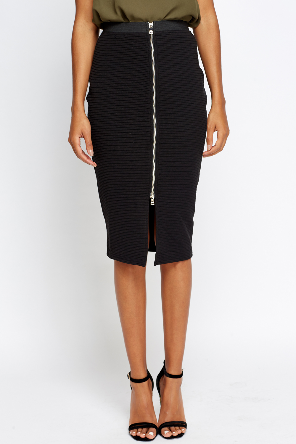 8d37b0a9ce Ribbed Zip Front Midi Skirt - Just £5